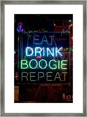 Eat Drink Boogie Repeat Beale Street Memphis Tennessee Framed Print by Wayne Higgs