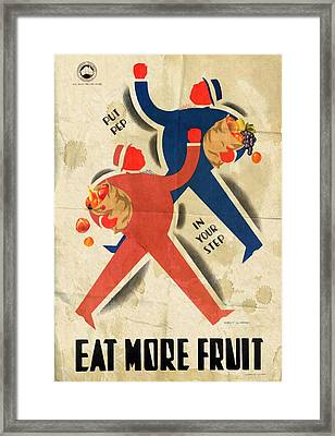 Eat More Fruit - Vintage Poster Folded Framed Print