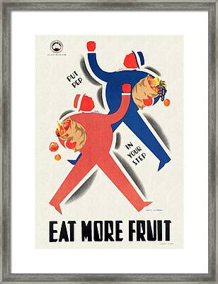 Eat More Fruit - Vintage Poster Restored Framed Print