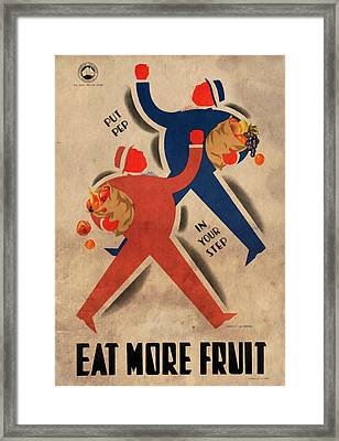 Eat More Fruit - Vintage Poster Vintagelized Framed Print