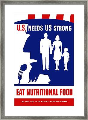 Uncle Sam - Eat Nutritional Food Framed Print by War Is Hell Store
