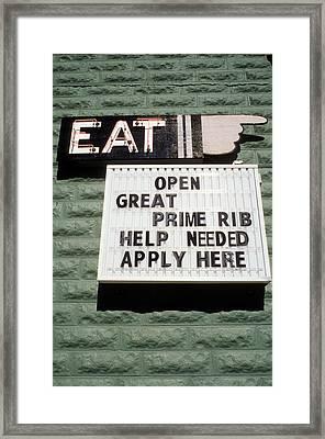 Eat Sign Framed Print