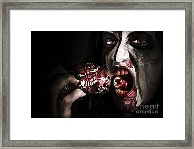 Eat Your Heart Out. Zombie Eating Bloody Heart Framed Print by Jorgo Photography - Wall Art Gallery