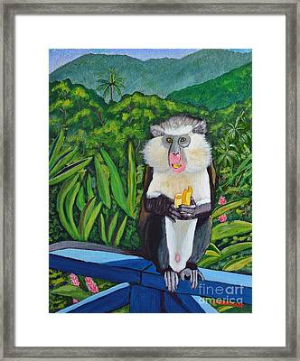 Framed Print featuring the painting Eating A Banana by Laura Forde