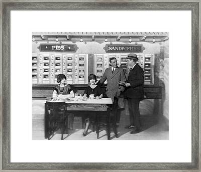 Eating At An Automat Framed Print by Underwood Archives