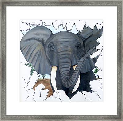 Framed Print featuring the painting Eavesdropping Elephant by Teresa Wing