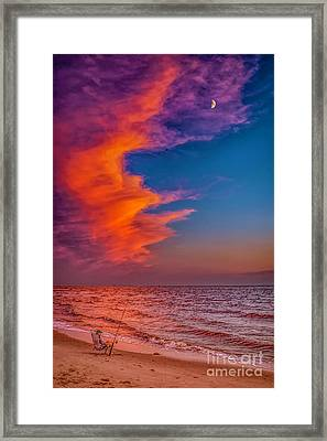 Framed Print featuring the photograph Evening Fishing On The Beach by Nick Zelinsky