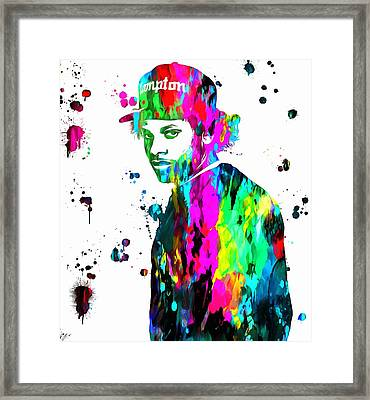 Eazy E Paint Splatter Framed Print by Dan Sproul