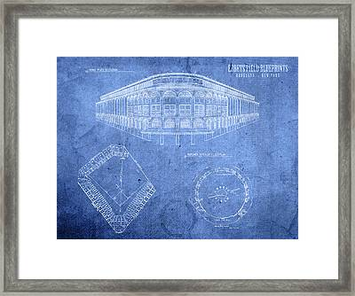 Ebbets Field Brooklyn Dodgers Baseball Field Blueprints Framed Print by Design Turnpike