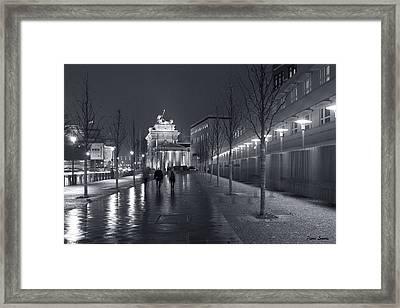 Ebertstrasse And The Brandenburg Gate Framed Print by Pierre Logwin