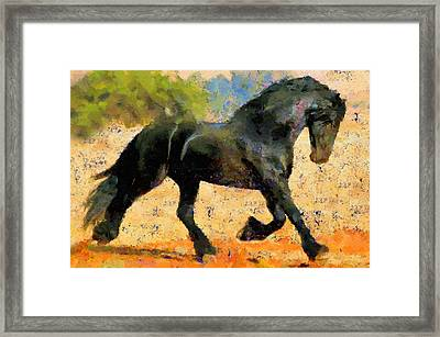 Ebony The Horse - Abstract Expressionism Framed Print by Georgiana Romanovna