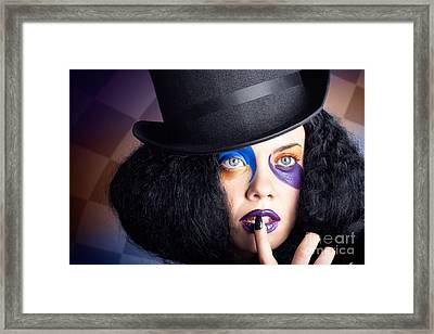 Eccentric Mad Fashion Hatter In Colourful Makeup Framed Print by Jorgo Photography - Wall Art Gallery
