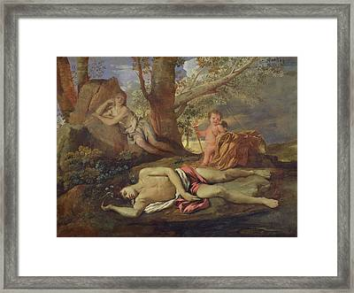 Echo And Narcissus  Framed Print by Nicolas Poussin