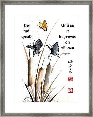 Echo Of Silence With Zen Proverb Framed Print