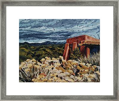 Framed Print featuring the painting Echoes Of Tularosa, Museum Hill, Santa Fe, Nm by Erin Fickert-Rowland