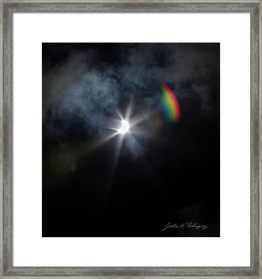 Solar Eclipse 2017 And Rainbow Framed Print