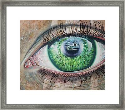 Eclipse Of The Watcher Framed Print by Oscar Burgos