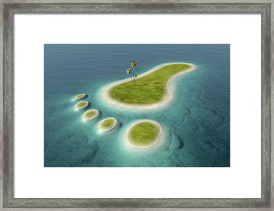 Eco Footprint Shaped Island Framed Print by Johan Swanepoel