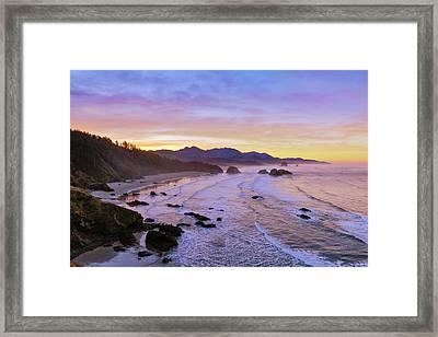 Ecola Point Sunrise Framed Print