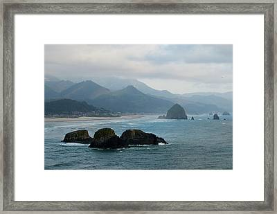 Ecola State Park View Of Haystack Rock And 3 Arch Rocks Framed Print