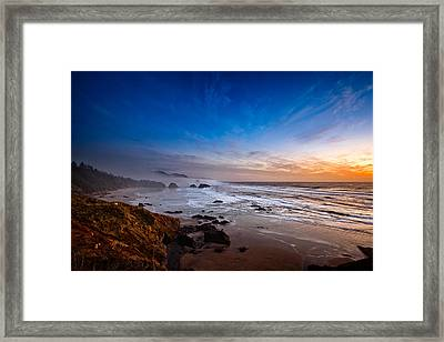 Ecola State Park At Sunset Framed Print by Ian Good