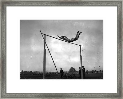 Ed Cook In The Pole Vault Framed Print by Artistic Panda
