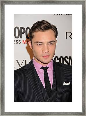 Ed Westwick At Arrivals Framed Print by Everett