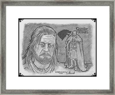 Eddard Stark Framed Print by Chris  DelVecchio