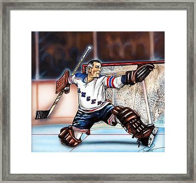 Eddie Giacomin Framed Print by Dave Olsen