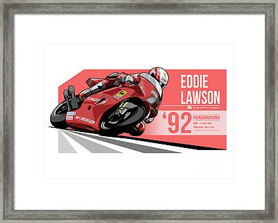 Eddie Lawson - 1992 Hungaroring Framed Print