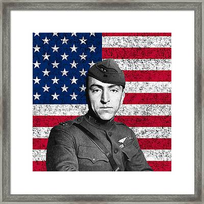 Eddie Rickenbacker And The American Flag Framed Print