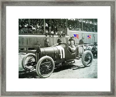 Eddie Rickenbacker Fair Grounds Track 103 Mile Auto Race   March 20 1915 Tucson Az Color Added 2012 Framed Print
