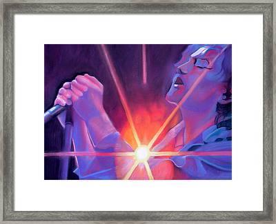 Eddie Vedder And Lights Framed Print by Joshua Morton