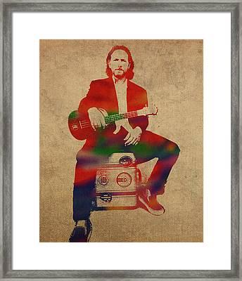 Eddie Vedder Pearl Jam Watercolor Portrait Framed Print