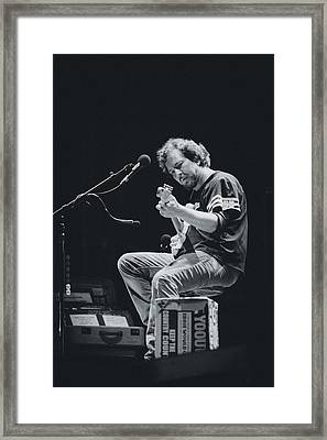 Eddie Vedder Playing Live Framed Print by Marco Oliveira