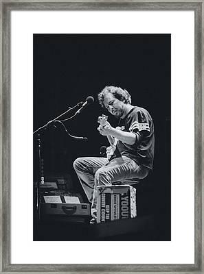 Eddie Vedder Playing Live Framed Print by Marco Oliveira