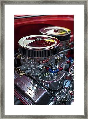 Edelbrock And Chevy Framed Print by Mike Reid