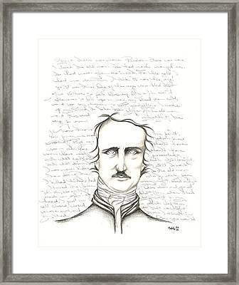 Edgar Allan Poe Framed Print by Heather Henry