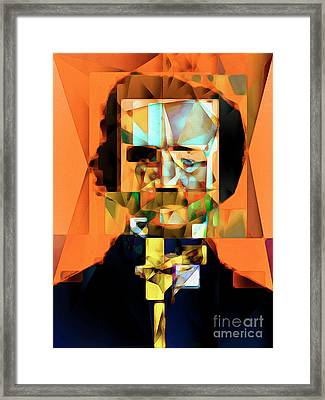 Framed Print featuring the photograph Edgar Allan Poe In Abstract Cubism 20170325 by Wingsdomain Art and Photography