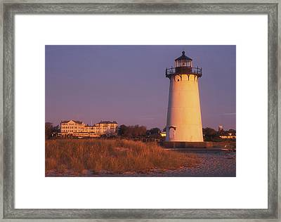 Edgartown Lighthouse And Mansion Framed Print by John Burk