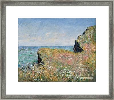 Edge Of The Cliff Pourville Framed Print by Claude Monet