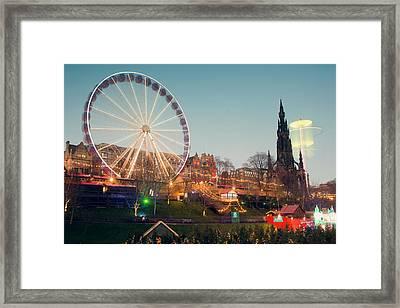 Edinburgh And The Big Wheel Framed Print by Ray Devlin