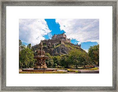 Edinburgh Castle From The Gardens Framed Print