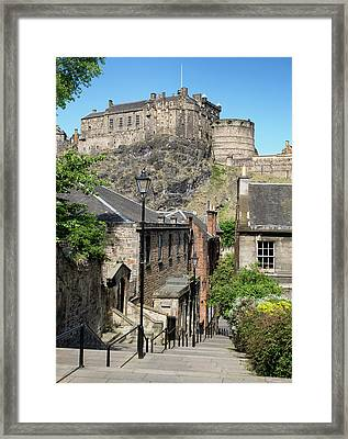 Framed Print featuring the photograph Edinburgh Castle From The Vennel by Jeremy Lavender Photography