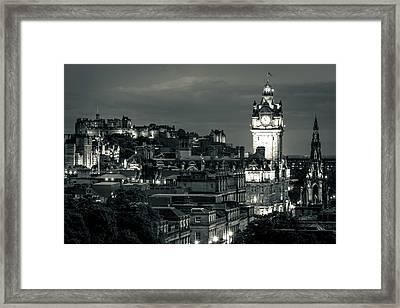 Edinburgh In Black And White Framed Print