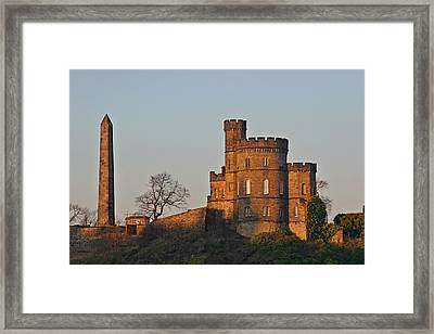Edinburgh Scotland - Governors House And Obelisk Calton Hill Framed Print by Christine Till