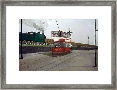 Edinburgh Tram With Goods Train Framed Print
