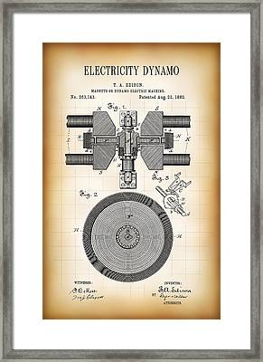 Edison Electricity Generator Dynamo  1882 Framed Print by Daniel Hagerman