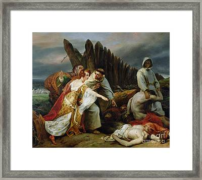 Edith Finding The Body Of Harold Framed Print by Emile Jean Horace Vernet