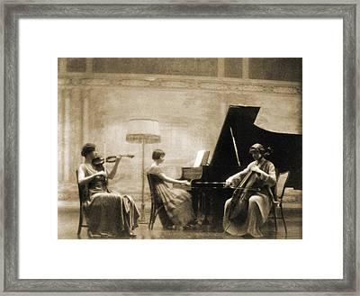 Edith Rubel Trio Performing, Left Framed Print by Everett